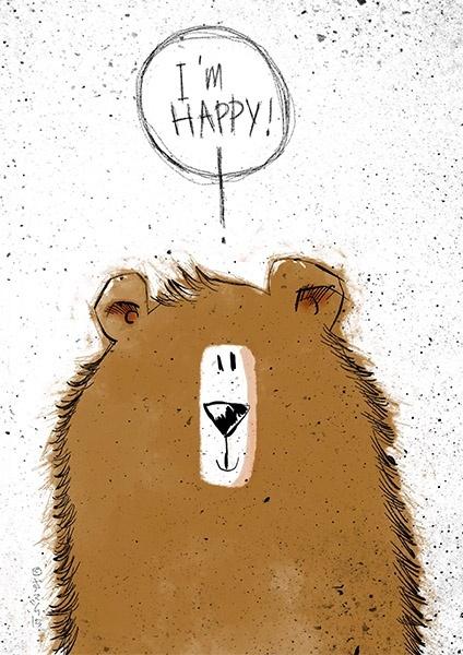 CUTE HAPPY CHOCOLATE BEAR! A3 300dpi