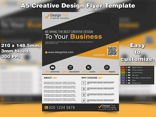 Creative Design Flyer Template (A5, PSD)