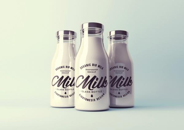 Realistic Milk Bottle Mock-Up Template