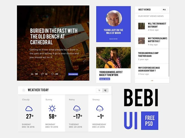 Free UI Web App PSD BEBI UI Download