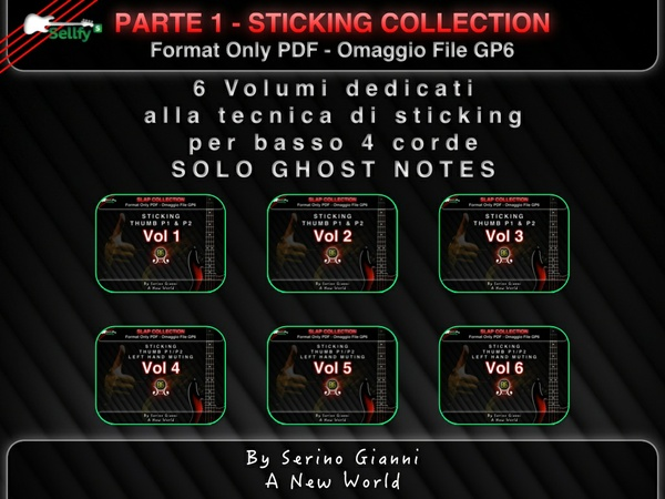 RACCOLTA 1 - SOLO GHOST NOTES - STICKING COLLECTION FOR BASS 4 STRING - FORMAT PDF OMAGGIO FILE GP6