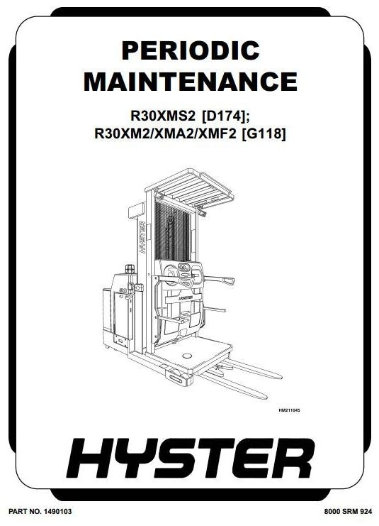 Hyster Electric Reach Truck Type G118: R30XM2, R30XMA2, R30XMF2 Workshop Service Manual