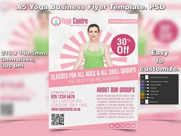 A5 Yoga Business PSD Flyer Template 4