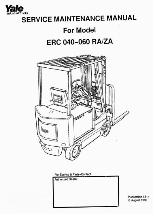 Yale Sit Down Rider RA, ZA Series: ERC040, ERC050, ERC060  Workshop Manual