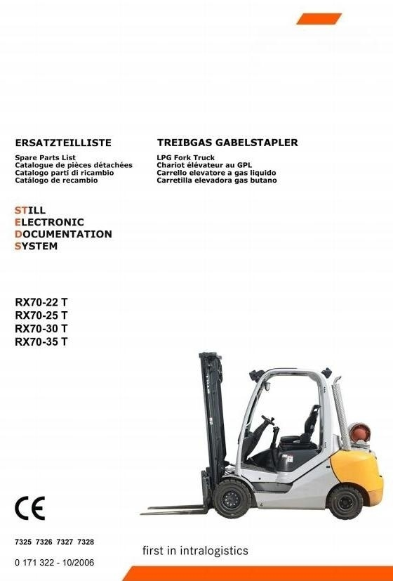 Still Forklift Truck RX70-22T, RX70-25T, RX70-30T, RX70-35T: 7325, 7326, 7327, 7328 Parts Manual