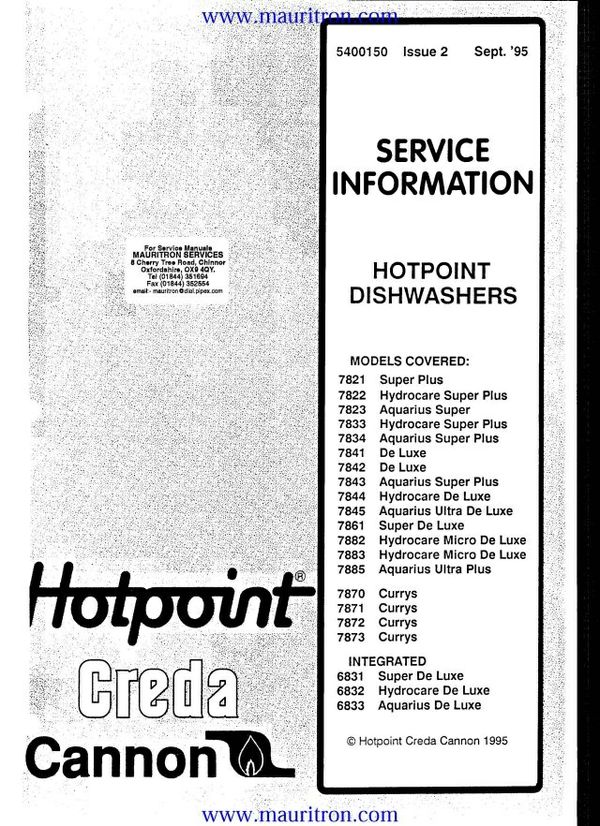 Hotpoint 6832 Service Manual