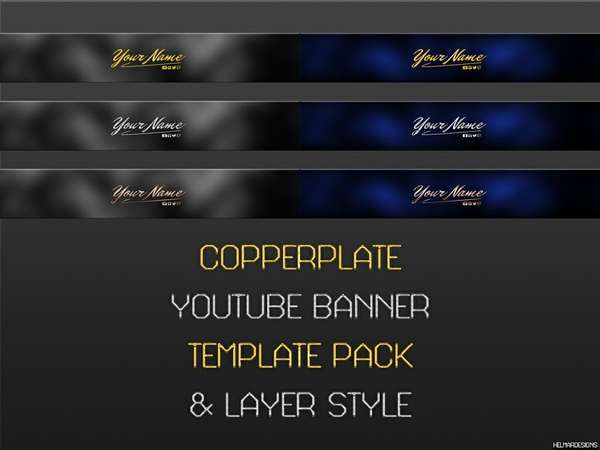 Copperplate YouTube Banner Template Pack With Layer Style