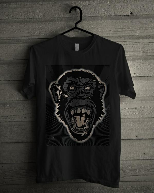 T-shirt Design Image - Monkey Face In Black