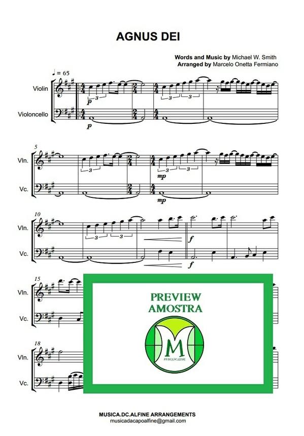 Agnus Dei - Michael W. Smith - Violin and Violoncello - Score and parts