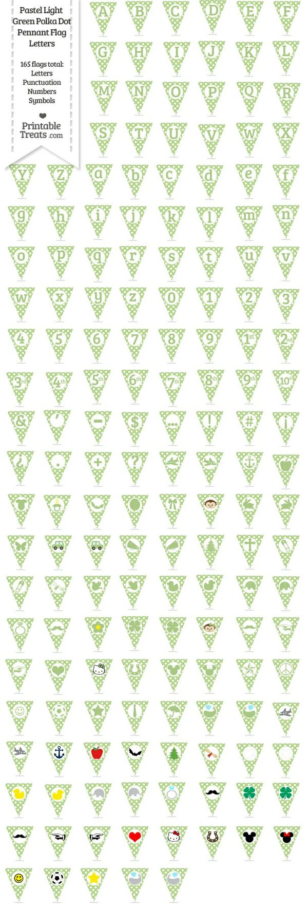 165 Pastel Light Green Polka Dot Pennant Flag Letters Password
