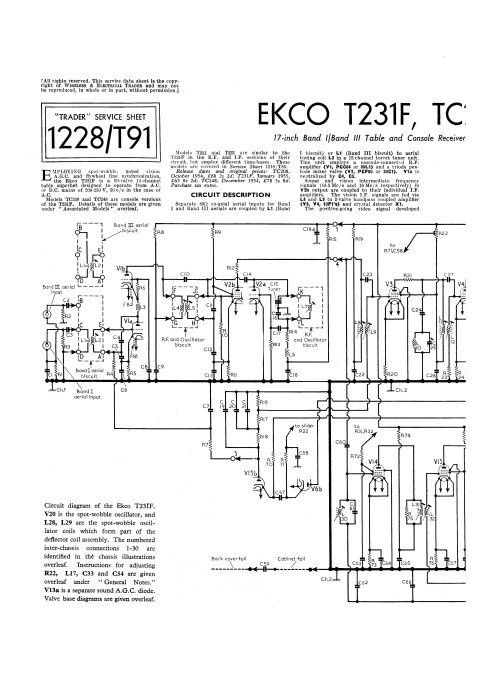 Ekco TC208 Service Sheets Set