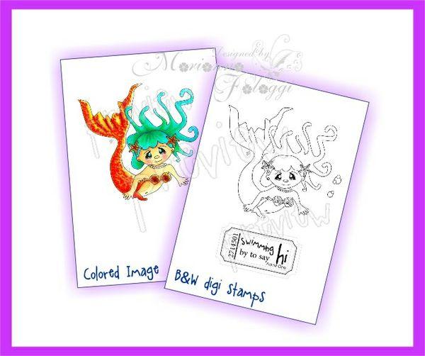Mermaid 2 Digital stamp and sentiment