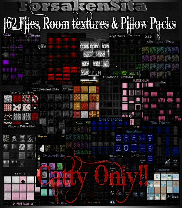 162 Files Room Textures & Pillow textures CATTY ONLY!! Only 5 Limited