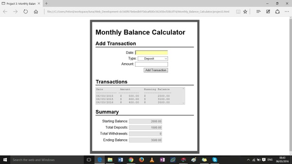 Monthly Balance Calculator