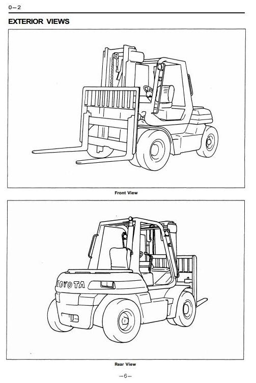 Toyota Forklift Truck Type 5FD50, 5FD60, 5FD70, 5FD80, 5FG50, 5FG60 Workshop Service Manual
