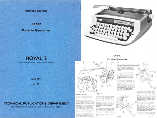 Royal Sabre Portable Typewriter Service Adjustment Maintenance Manual