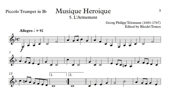 Telemann TWV50:31-42 Heroic Music. Organ accompaniment. Trumpet sheet music.