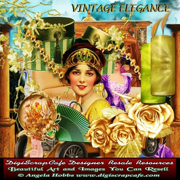 Vintage Elegance Scrapbook Kit Antique Transparent PNG PSD Commercial Use Steampunk