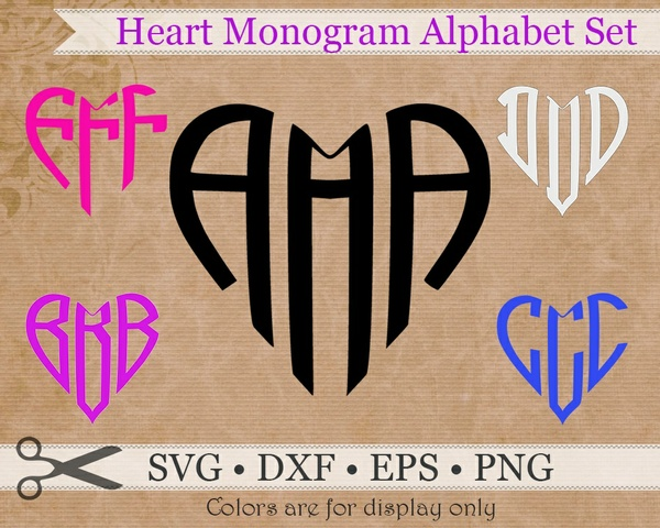 HEART THREE LETTER MONOGRAM SET