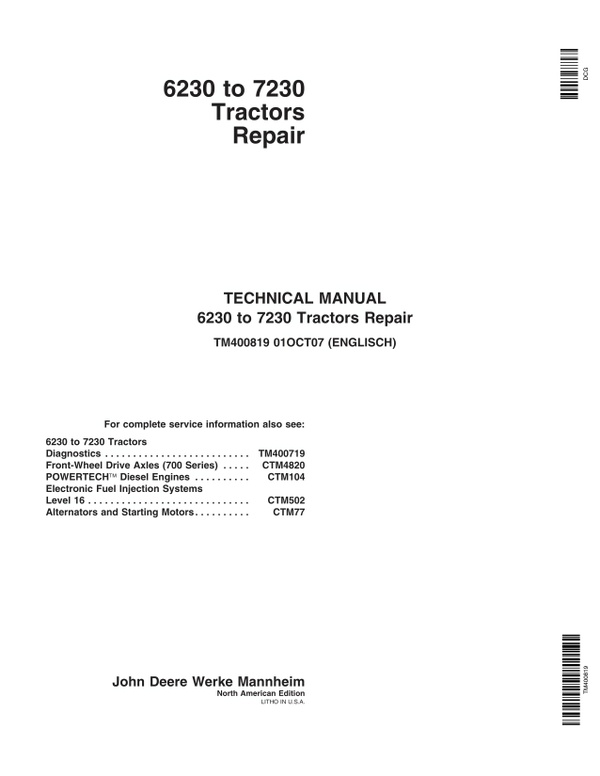 John Deere 6230 6330 6430 7130 7230 - technical manual - TM400819 - 1200 pages - english