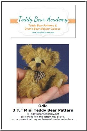 "Odie - 3 1/2"" Miniature Teddy Bear Pattern w/ resell rights of finished bear"