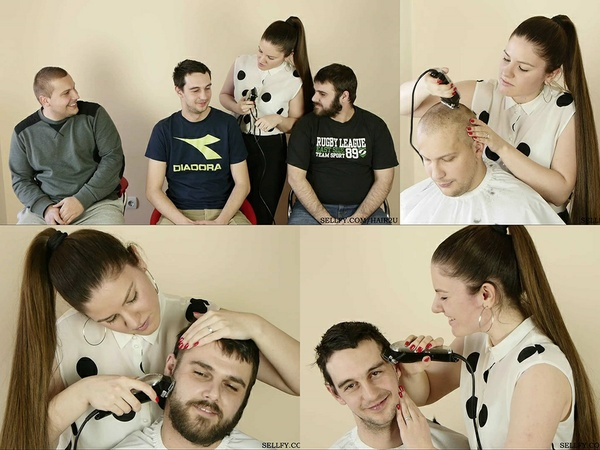 Barberette Suzana Shaves 3 Men
