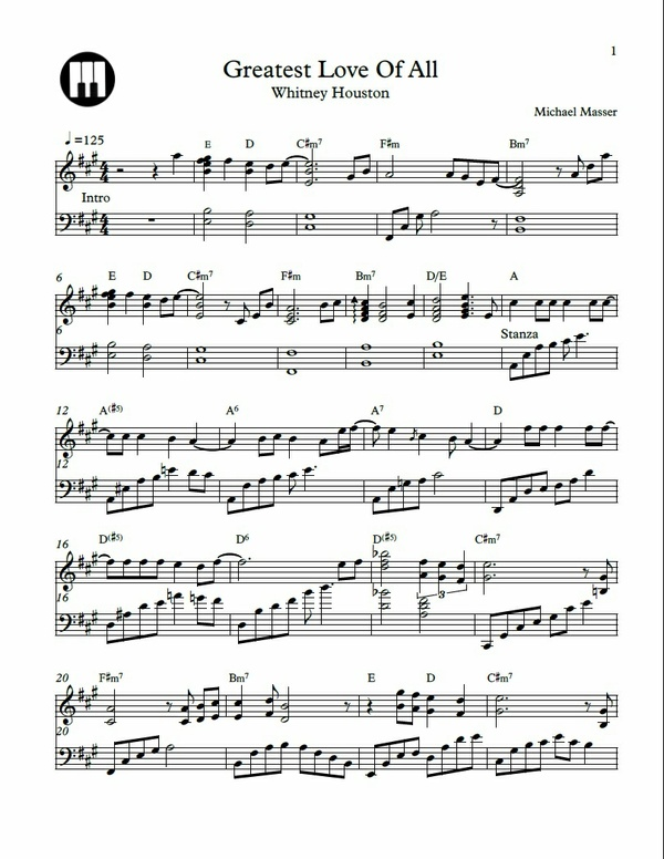 Greatest Love of All Sheet Music