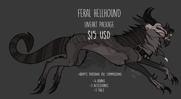 Feral Hellhound P2U Lineart