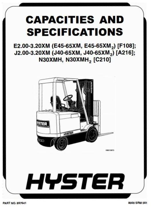 Hyster Forklift Truck Type F108: E45XM, E50XM, E55XM, E60XM, E65XM Workshop Manual