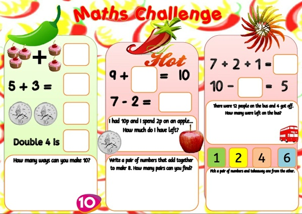 ADDITION & SUBTRACTION CHALLENGE MAT