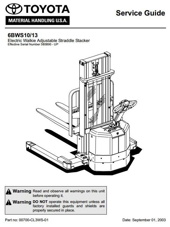 Toyota Electric Walkie Adjustable Straddle Stacker 6BWS10, 6BWS13; SN: 585890 - up Service Manual
