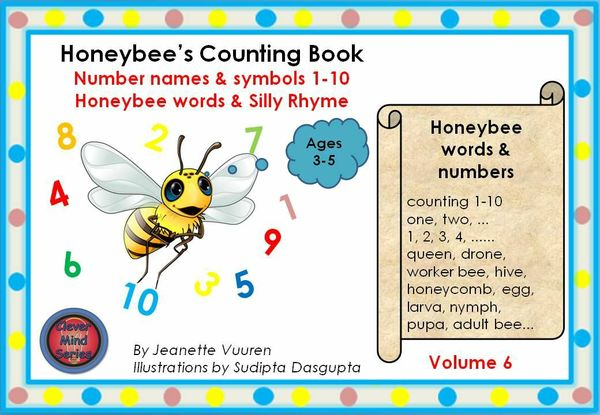 BOOK: HONEYBEE'S COUNTING BOOK VOLUME 6 JEANETTE VUUREN:1a WHITE BACKGROUND