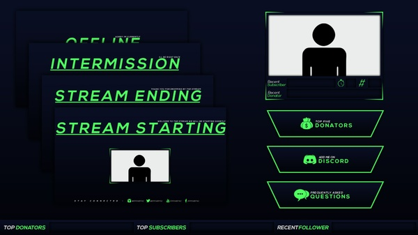 Blue and Green Twitch Stream Rebrand and Overlay Photoshop Template