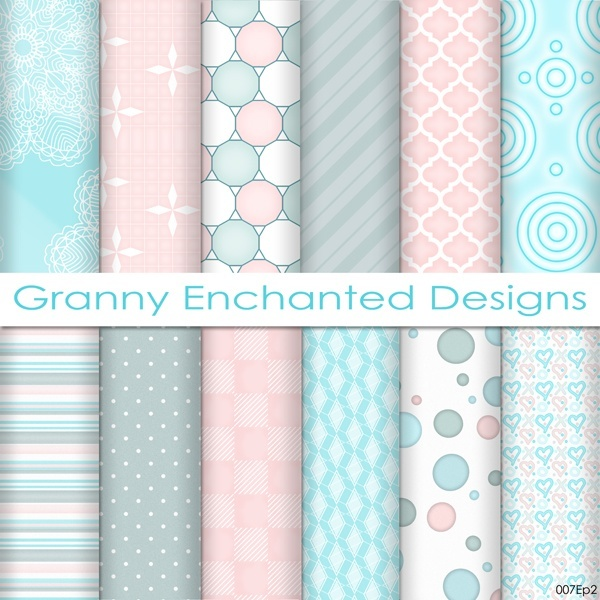 Soft Beach: 12 Digital Papers– in Teal, White, and Blush Patterns (007p2)