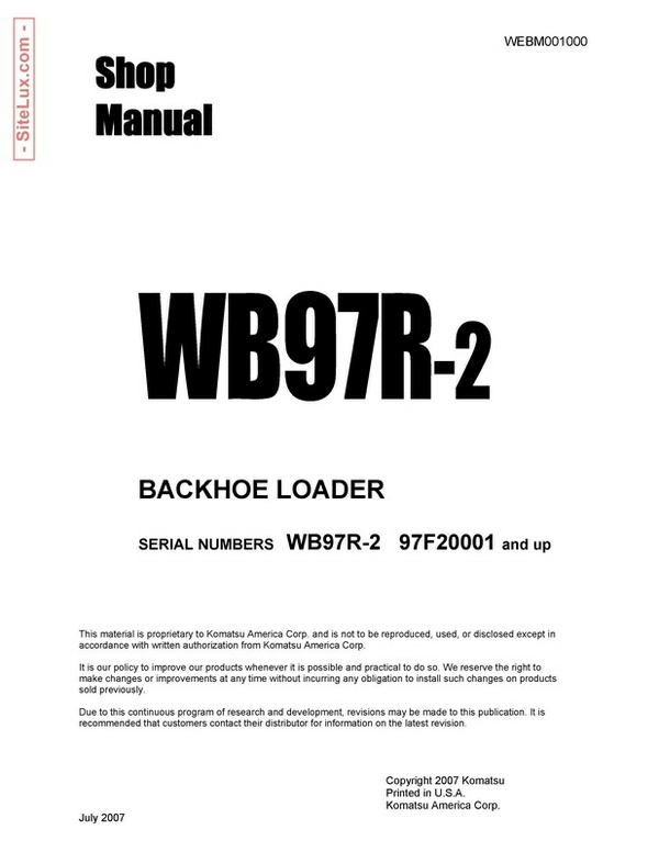 Komatsu WB97R-2 Backhoe Loader Shop Manual - WEBM001000
