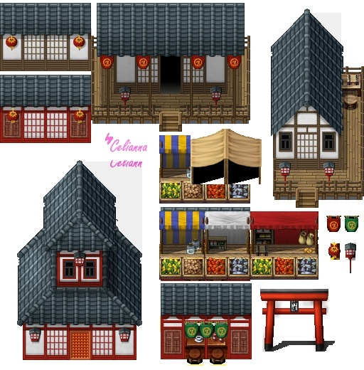 """Celianna's Parallax Tiles """"Japanese Buildings"""""""
