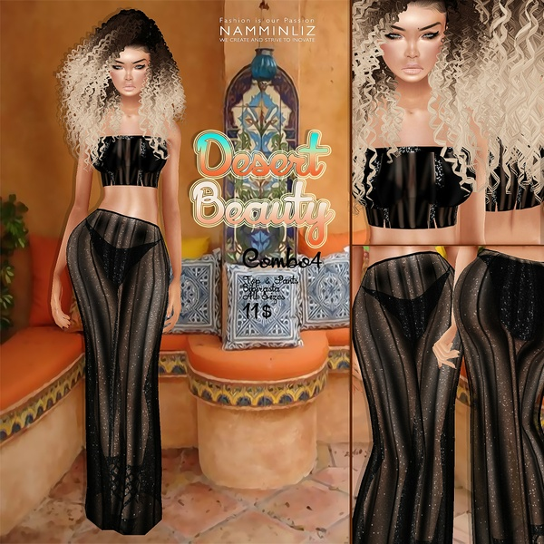 Desert Beauty combo4 •Bibirasta Shiny Top+Pants