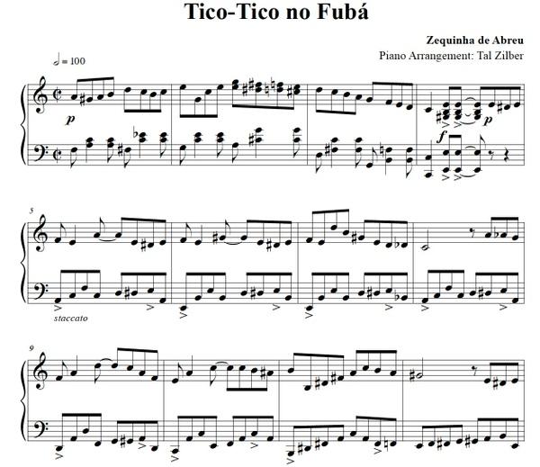 Tico-Tico no Fubá - Piano Arrangement by Tal Zilber