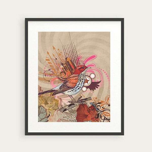 Poster Print 8 x 10 Bird Floral Grunge Modern No.2 Instant Download