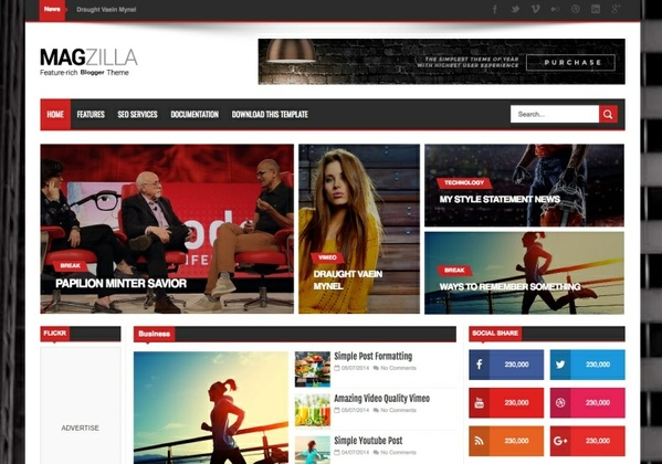 Mag Zilla Blogger Template Premium Version