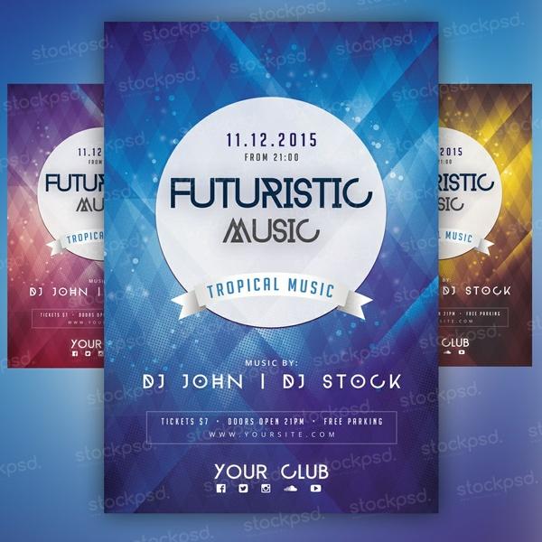 Futuristic Music - PSD Flyer