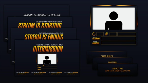 Dark Blue and Orange Twitch Stream Rebrand and Overlay Photoshop Template