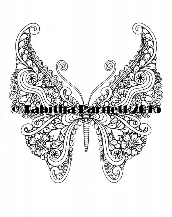 """Tangleflies"" Coloring Pages PDF (6 butterflies to print and color)"