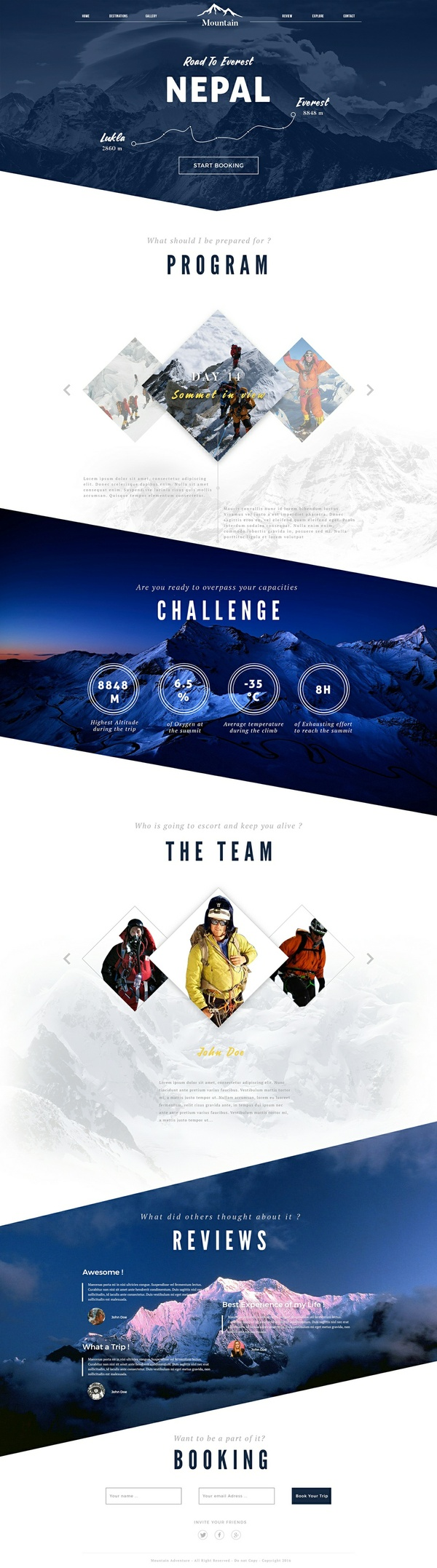 Webdesign Template - Mountain Booking Travel Website