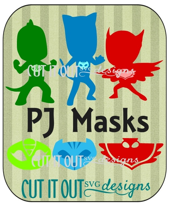 PJ Masks Character Silhouettes and Masks SVG