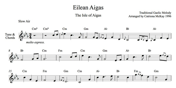 ISLE OF AIGAS Advanced Harp Solo, Intermediate Harp Solo, tune & chords Arranged by Catriona McKay