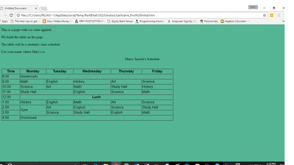 Lab Assignment 6: Working with Tables Solution