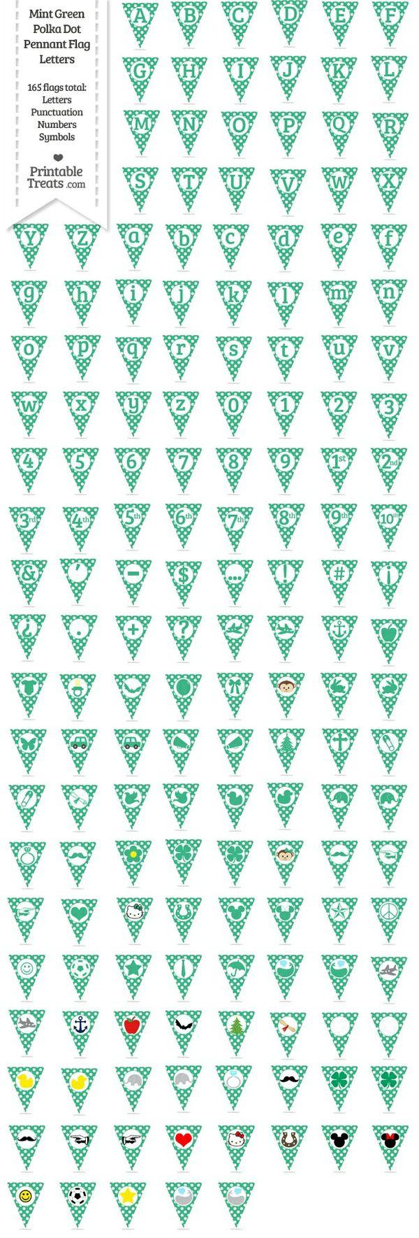 165 Mint Green Polka Dot Pennant Flag Letters Password