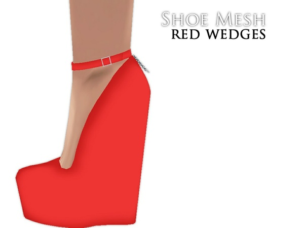 IMVU Mesh - Shoes - Red Wedges