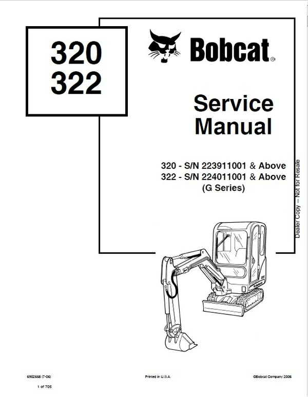 Bobcat 320G, 322G Excavator Service Repair Manual PDF